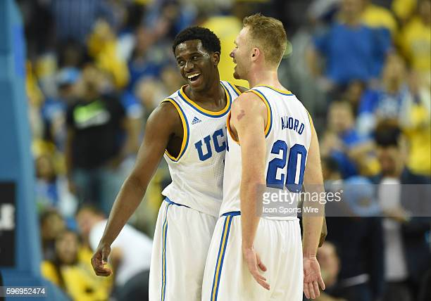 UCLA Prince Ali celebrates with UCLA Bryce Alford after throwing down a big dunk during an NCAA basketball game between the Kentucky Wildcats and the...