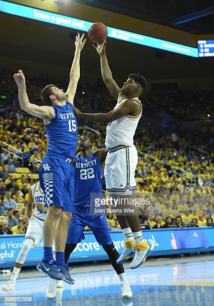 UCLA Tony Parker shoots over Kentucky Isaac Humphries during an NCAA basketball game between the Kentucky Wildcats and the UCLA Bruins at Pauley...