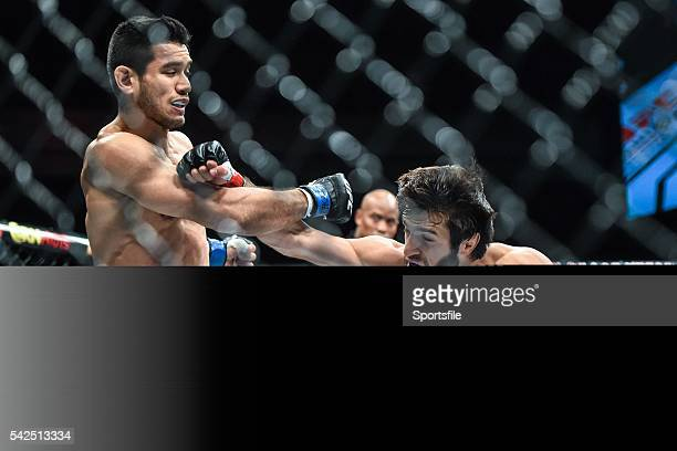 10 December 2015 Zubaira Tukhugov right in action against Phillipe Nover during their featherweight bout UFC Fight Night VanZant v Namajunas The...