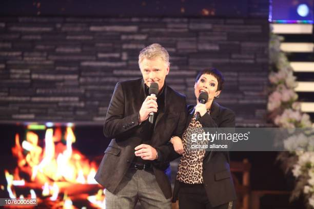 Singer Francine Jordi and presenter Jörg Pilawa perform during the dress rehearsal of the ARD programme Silvester Show The programme will be...