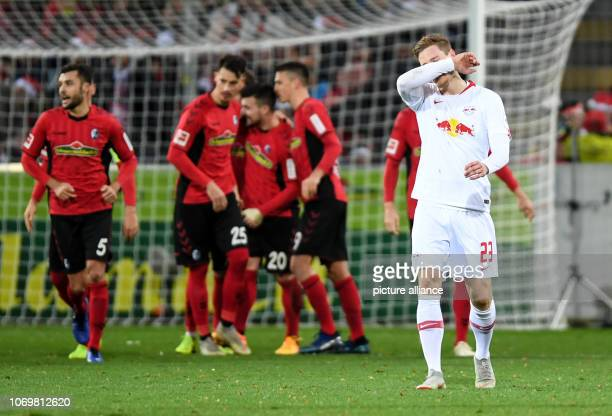 08 December 2018 BadenWuerttemberg Freiburg Soccer Bundesliga SC Freiburg RB Leipzig 14th matchday in the Schwarzwaldstadion Marcel Halstenberg from...