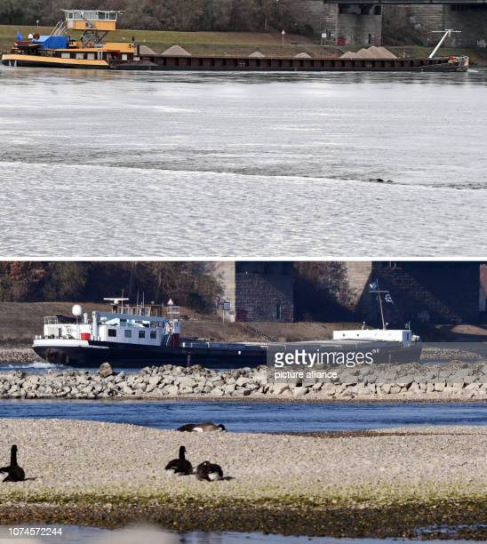 22 December 2018 BadenWuerttemberg Karlsruhe The combo shows two photos at the Rhine bridge near Karlsruhe Maxau Below from and above from After...