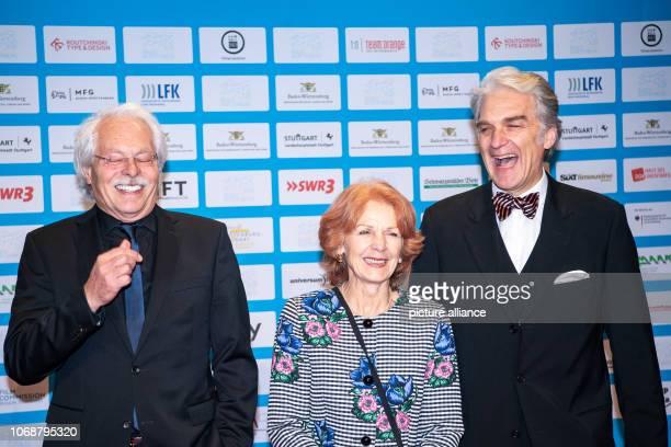 December 2018, Baden-Wuerttemberg, Stuttgart: Thomas Roth , journalist, Sigrid Klausmann, director and screenwriter, and Walter Sittler, actor and...