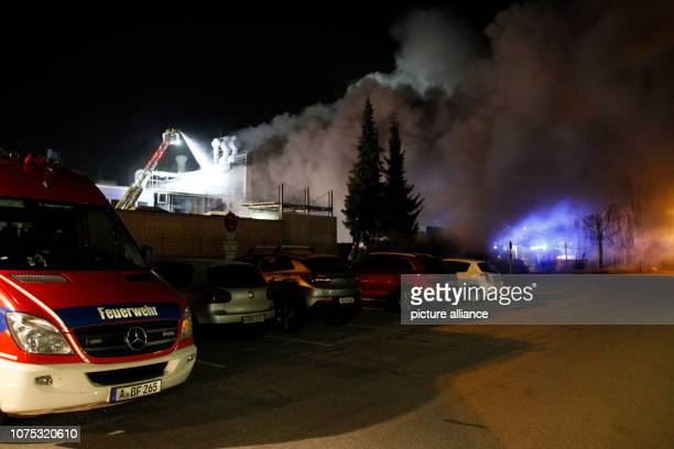 Smoke rises from the factory of the aviation supplier Premium Aerotec In Augsburg burnt it in the night to on the area of the aviation supplier...