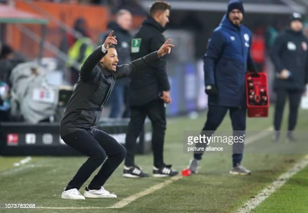 Soccer Bundesliga FC Augsburg FC Schalke 04 15th matchday in the WWKArena Schalke's coach Domenico Tedesco gestures on the sidelines Photo KarlJosef...