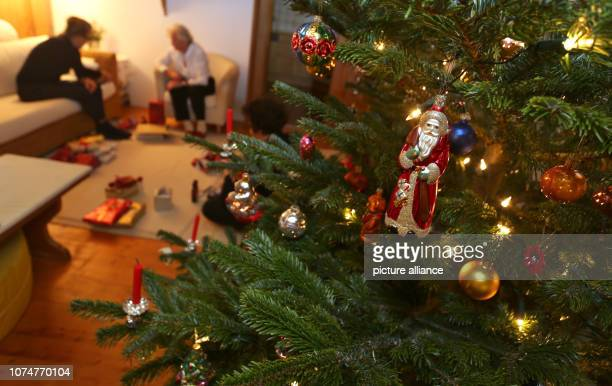 People sit in a living room behind a decorated Christmas tree Photo KarlJosef Hildenbrand/dpa