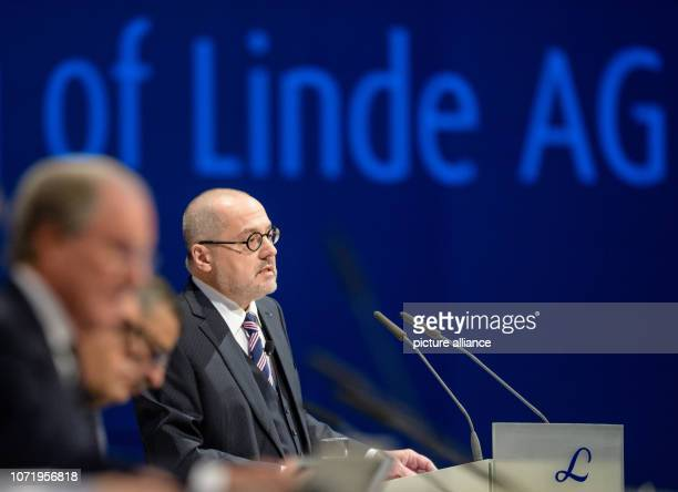 Aldo Belloni Chief Executive Officer of Linde AG speaks at an extraordinary general meeting of Linde AG After the merger of the German Linde AG with...