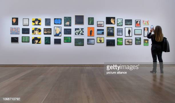 During a press preview at the Brandhorst Museum a woman photographs pictures in the retrospective 'Alex Katz' The exhibition 'Alex Katz' shows from...