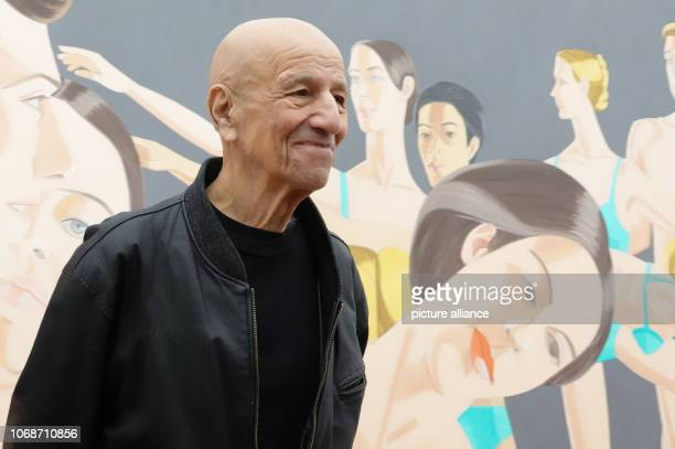 The artist Alex Katz stands in front of his picture 'Private Domain' in the Museum Brandhorst during a press preview of the retrospective 'Alex Katz'...