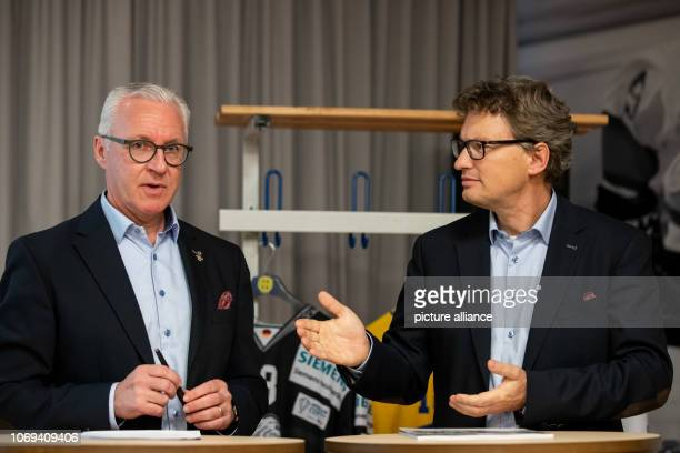 Georges Lüchinger spokesman for the Spengler Cup stadium will speak alongside Markus Glarner head of media for the Sprengler Cup during the press...