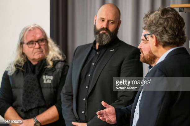 Marc Gianola President of the Sprengler Cup speaks alongside Thomas Sabo entrepreneur main sponsor and namesake of the Thomas Sabo Ice Tigers Marc...