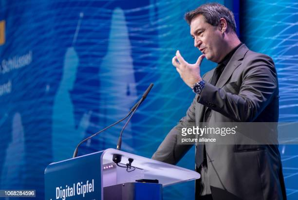 Markus Söder Prime Minister of Bavaria speaks at the Digital Summit The twoday digital summit of the Federal Government is held under the motto...