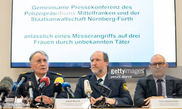 Roman Fertinger Police Commissioner of the Central Franconian Police Headquarters speaks during a press conference about attacks on three women the...