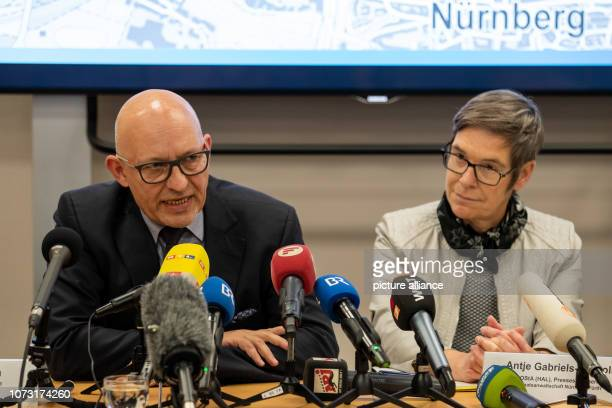Thilo Bachmann Chief Criminal Investigator of the Criminal Investigation Department 1 Nuremberg speaks during a press conference about attacks on...