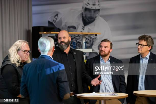 Wolfgang Gastner Managing Director Thomas Sabo Ice Tigers speaks alongside Thomas Sabo entrepreneur main sponsor and namesake of the Thomas Sabo Ice...
