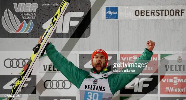 Ski jumping Four Hills Tournament Big Hills Gentlemen 2nd Passage Markus Eisenbichler ski jumper from Germany celebrates his second place Photo...