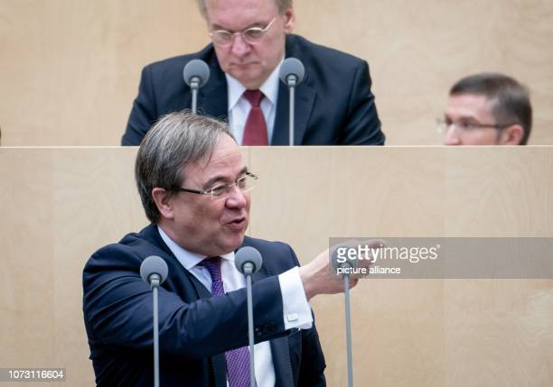 Armin Laschet Prime Minister of North RhineWestphalia speaks during the session of the Bundesrat In the last session of the year the regional chamber...