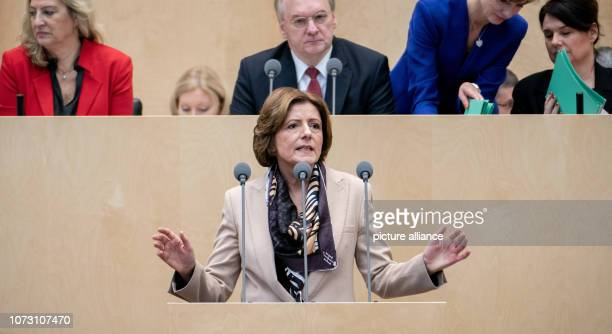 Malu Dreyer Prime Minister of RhinelandPalatinate speaks at the Federal Council meeting In the last session of the year the regional chamber finally...