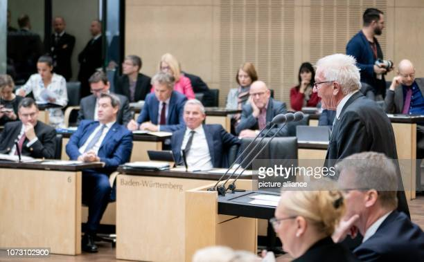 Winfried Kretschmann Minister President of BadenWürttemberg speaks at the meeting of the Bundesrat In the last session of the year the regional...