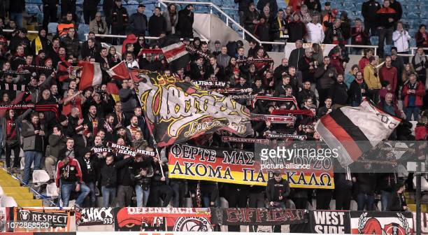 Football Europa League Group Phase Group A 6th Matchday Larnaca Bayer Leverkusen in the GSP Stadium Leverkusen fans in the stands Photo Angelos...