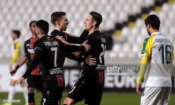 Football Europa League Group Phase Group A 6th Matchday Larnaca Bayer Leverkusen in the GSP Stadium Paulinho Mitchell Weiser and Dominik Kohr of...