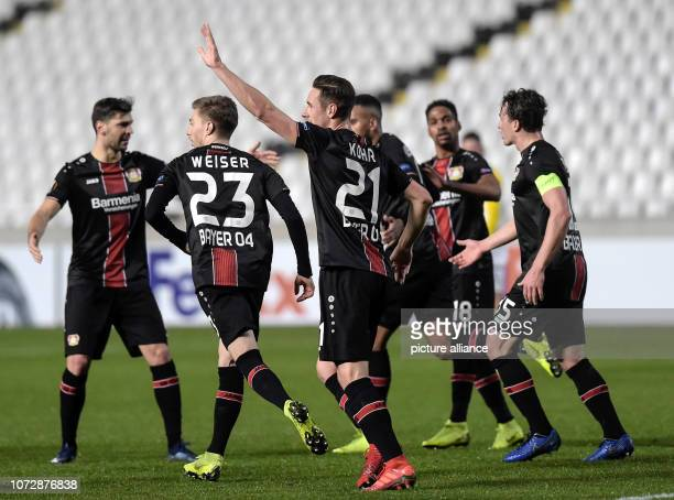Football Europa League Group Phase Group A 6th Matchday Larnaca Bayer Leverkusen at the GSP Stadium Mitchell Weiser and Dominik Kohr of Leverkusen...