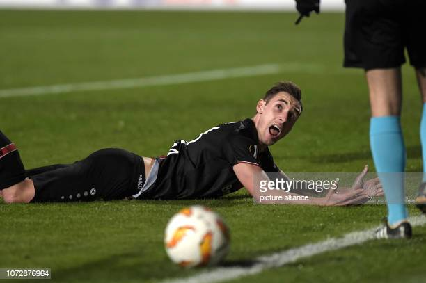 Football Europa League Group Phase Group A 6th Matchday Larnaca Bayer Leverkusen at GSP Stadium Dominik Kohr of Leverkusen reacts after an action...