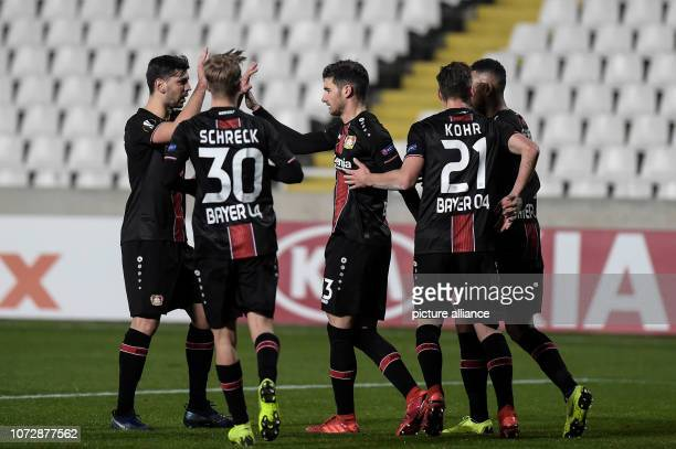 Football Europa League Group Phase Group A 6th Matchday Larnaca Bayer Leverkusen at GSP Stadium Lucas Alario of Leverkusen and his teammates are...
