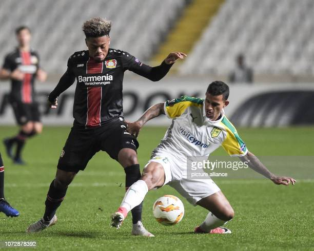 Football Europa League Group Phase Group A 6th Matchday Larnaca Bayer Leverkusen at GSP Stadium Leon Bailey of Leverkusen fights for the ball with...