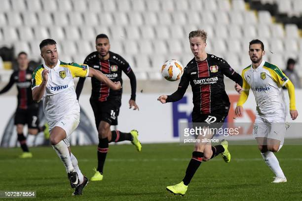 Football Europa League Group Phase Group A 6th Matchday Larnaca Bayer Leverkusen at GSP Stadium Sam Schreck from Leverkusen in action Photo Angelos...