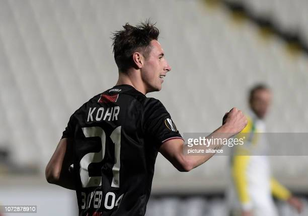 Soccer Europa League Group stage Group A 6th matchday AEK Larnaca Bayer Leverkusen at the GSP Stadium Dominik Kohr of Leverkusen is delighted with a...