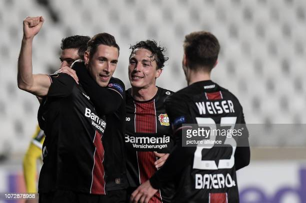 Soccer Europa League Group stage Group A 6th matchday AEK Larnaca Bayer Leverkusen at GSP Stadium Dominik Kohr of Leverkusen is delighted to score...