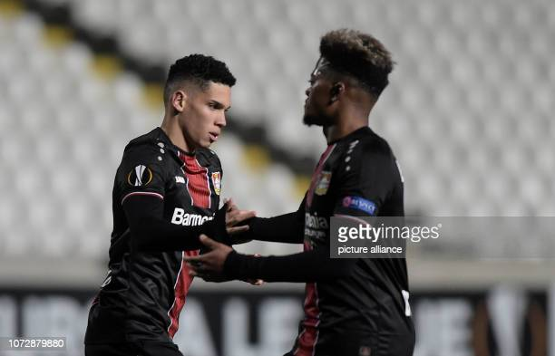 Soccer Europa League Group stage Group A Matchday 6 AEK Larnaca Bayer Leverkusen at the GSP Stadium Paulinho and Leon Bailey von Leverkusen are...