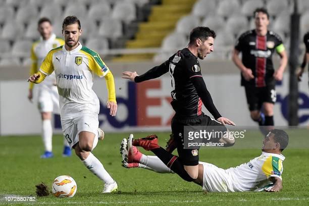 Soccer Europa League Group stage Group A Matchday 6 AEK Larnaca Bayer Leverkusen at GSP Stadium Lucas Alario from Leverkusen jumps over Igor Silva...