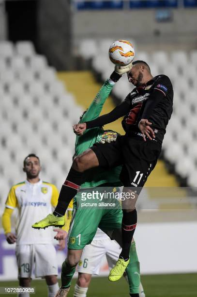 Soccer Europa League Group stage Group A Matchday 6 AEK Larnaca Bayer Leverkusen at GSP Stadium Isaac Kiese Thelin von Leverkusen fights for the ball...