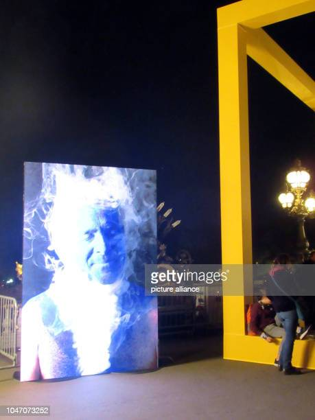 The video installation Sur la peau by Christophe Loiseau stands on the bridge Pont d'Alexandre III during the Nuit Blanche the long art night of...