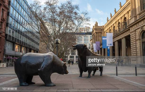 The sculpture group Bear and Bull by sculptor Rainer Dachlauer in front of the stock exchange Photo Silas Stein/dpa
