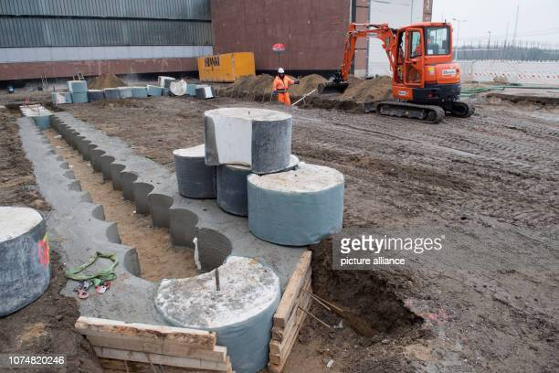 19 December 2018 MecklenburgWestern Pomerania Lubmin A construction company is working on the foundation of the new dismantling hall for large...