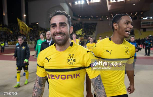 Soccer Champions League AS Monaco Borussia Dortmund Group stage Group A 6th matchday at the Stade Louis II Dortmund's Paco Alcácer and Abdou Diallo...