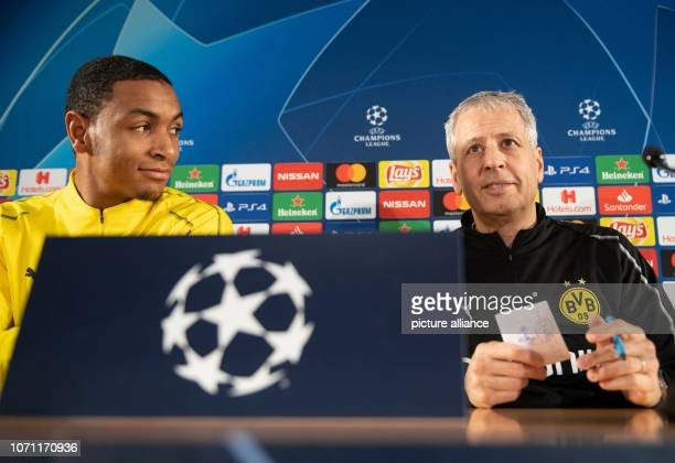 Soccer Champions League before the 6th matchday AS Monaco Borussia Dortmund in the Stade Louis II Borussia Dortmund coach Lucien Favre and Abdou...