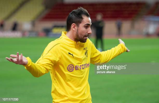 Soccer Champions League before the 6th matchday AS Monaco Borussia Dortmund in the Stade Louis II Borussia Dortmund's Paco Alcacer gesticulated Photo...