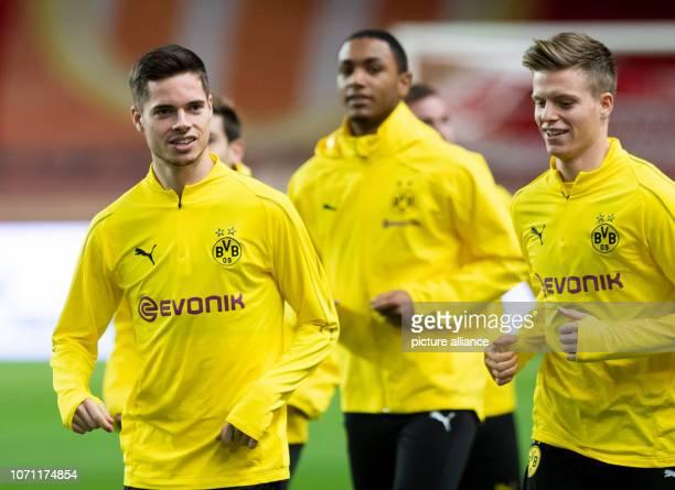 Soccer Champions League before the 6th matchday AS Monaco Borussia Dortmund in the Stade Louis II Borussia Dortmund's Julian Weigl Abdou Diallo and...