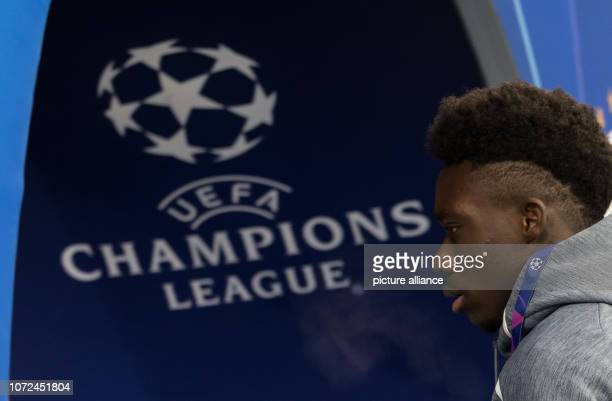 Soccer Champions League Ajax Amsterdam Bayern Munich Group stage Group E 6 th matchday in the in the Johann Cruyff ArenA Alphonso Davies of Munich...