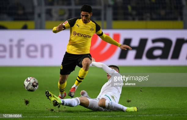 15 December 2018 North RhineWestphalia Dortmund Soccer Bundesliga Borussia Dortmund Werder Bremen 15th matchday at Signal Iduna Park Achraf Hakimi...