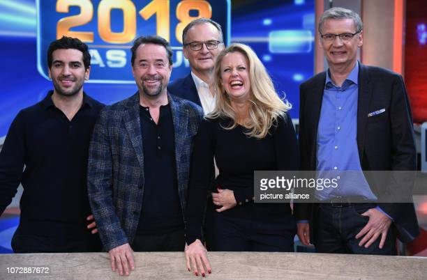 14 December 2018 North RhineWestphalia Köln The actors Elyas M'Barek and Jan Josef Liefers and the presenters Frank Plasberg Barbara Schöneberger and...