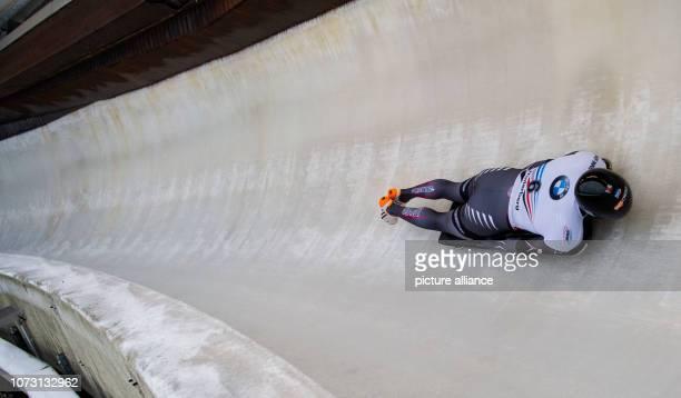 December 2018, North Rhine-Westphalia, Winterberg: Skeleton, World Cup, men, 2nd run in the Veltins-Eisarena: Tomass Dukurs from Latvia on the track....