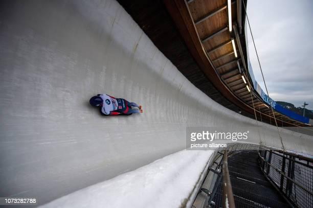 December 2018, North Rhine-Westphalia, Winterberg: Skeleton, World Cup, women, 1st run in the Veltins ice arena: Madelaine Smith from Great Britain...