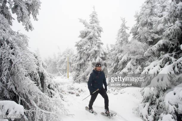 Rene Sosna weather service technician of the weather station of the German Weather Service on the Brocken goes back to the station after measuring...