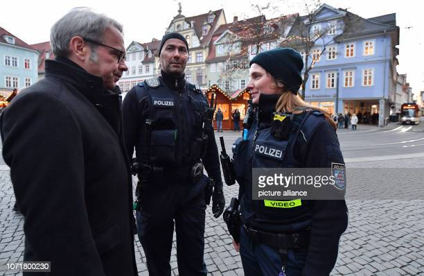 Georg Maier Thuringian Minister of the Interior accompanies Nicole Tscharnke Police Master and JanPeter Mock Criminal Chief of the Einsatz und...