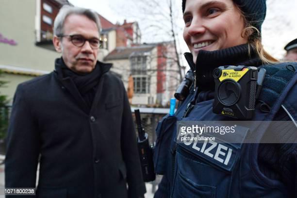 Georg Maier Thuringian Minister of the Interior accompanies Nicole Tscharnke Police Master of the Einsatz und Streifendienst des Inspektionsdienstes...